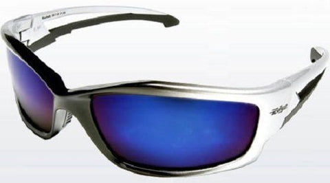 Edge Kazbek Safety Glasses Black and Silver Frame - Blue Mirror Lens - Pipeline Pro Supplies
