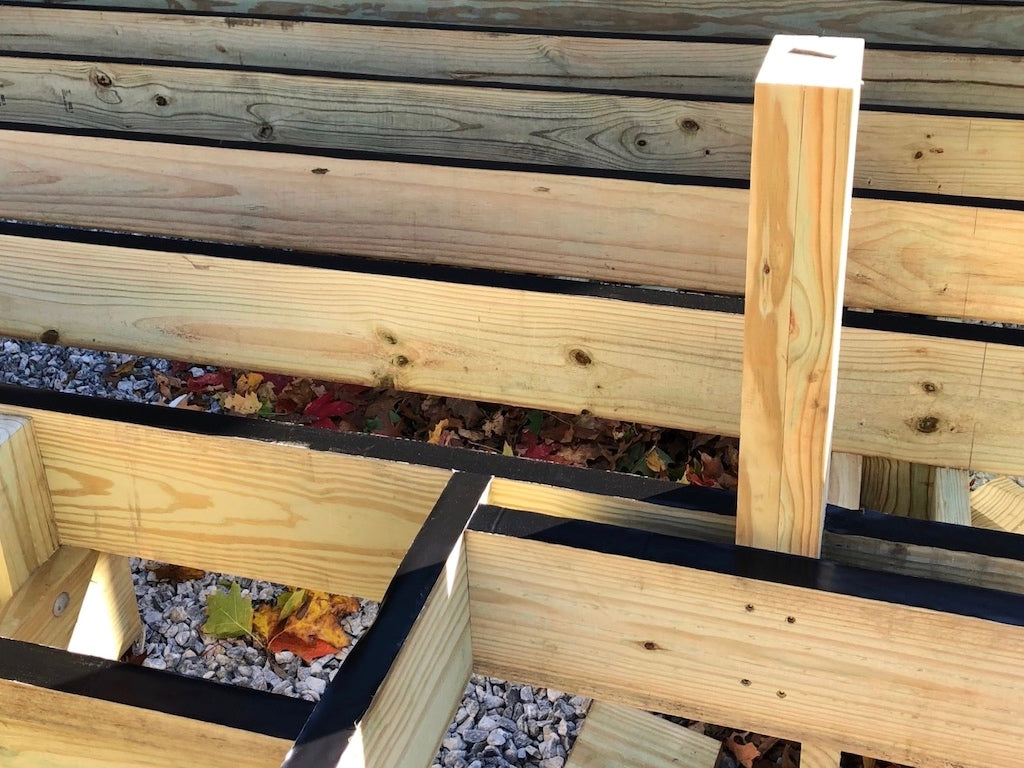 Deck framing with Imus Seal Butyl Joist Tape installed