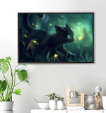 Cat with Fireflies Print