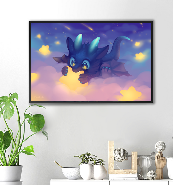 Dragon with Stars Print