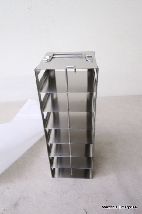 "STAINLESS STEEL LABORATORY FREEZER RACK CRYOGENIC  5.5"" X5.5""X15.5"""