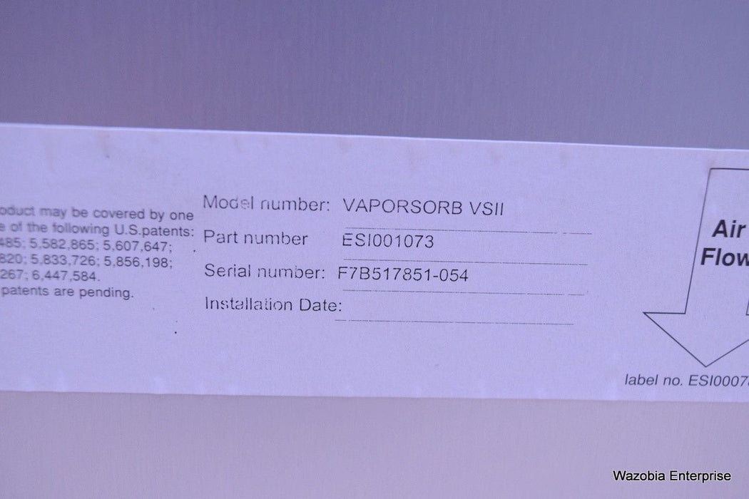 EXTRACTION AIR FILTER MODEL VAPORSORB VSII