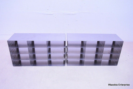LOT OF 2 STAINLESS STEEL CRYO STORAGE FREEZER RACK CRYOGENIC 16 ½ x 5 ½ x 9