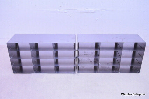 LOT OF 2 STAINLESS STEEL CRYO STORAGE FREEZER RACK CRYOGENIC 16½ x 5½ x 9