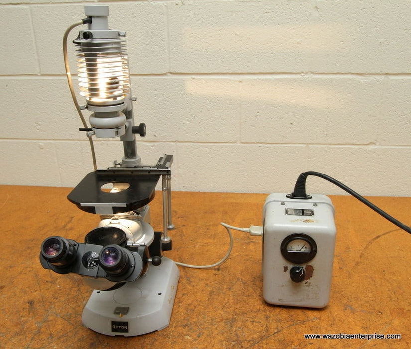 CARL ZEISS OPTON INVERTED MICROSCOPE WITH POWER SUPPLY INVERTOSCOPE
