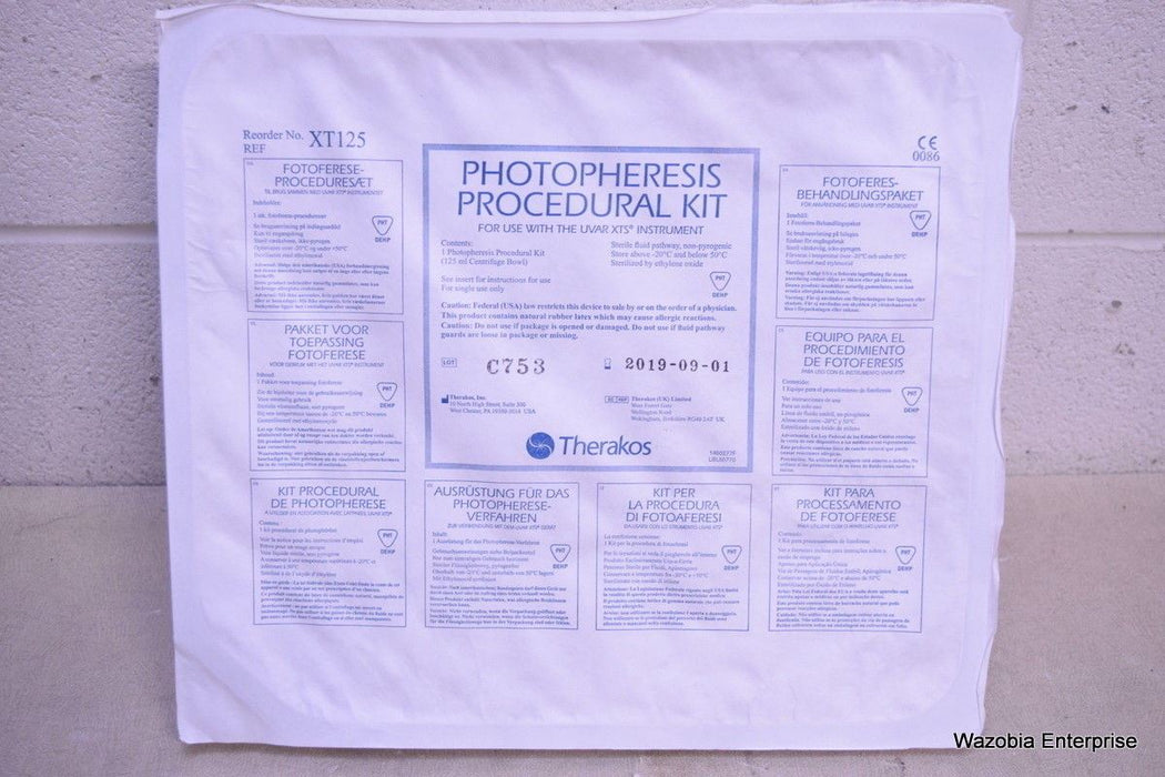 THERAKOS PHOTOPHERESIS PROCEDURAL KIT XT125 FOR UVAR XTS INSTRUMENT 2019-09-01