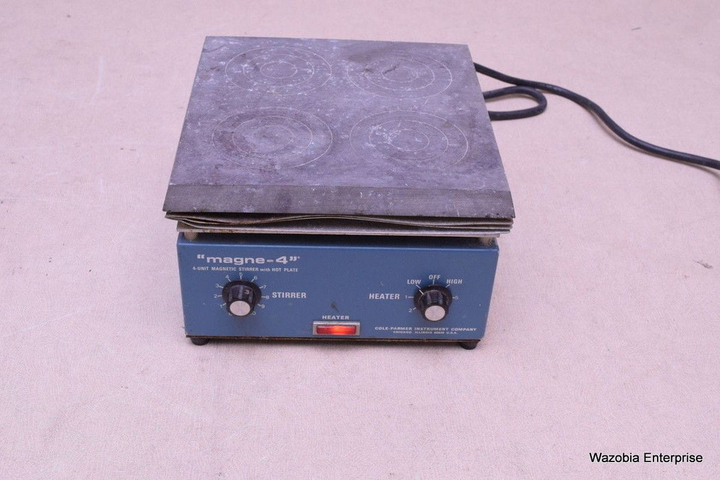 "COLE-PARMER ""MAGNE -4"" 4-UNIT MAGNETIC STIRRER WITH HOT PLATE MODEL 4820-20"