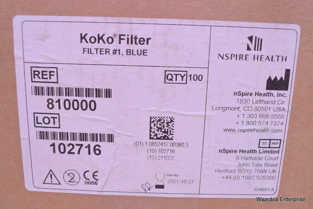 100 NSPIRE KOKO DISPOSABLE BACTERIAL VIRAL PULMONARY FILTER 810000 6360011 L 202