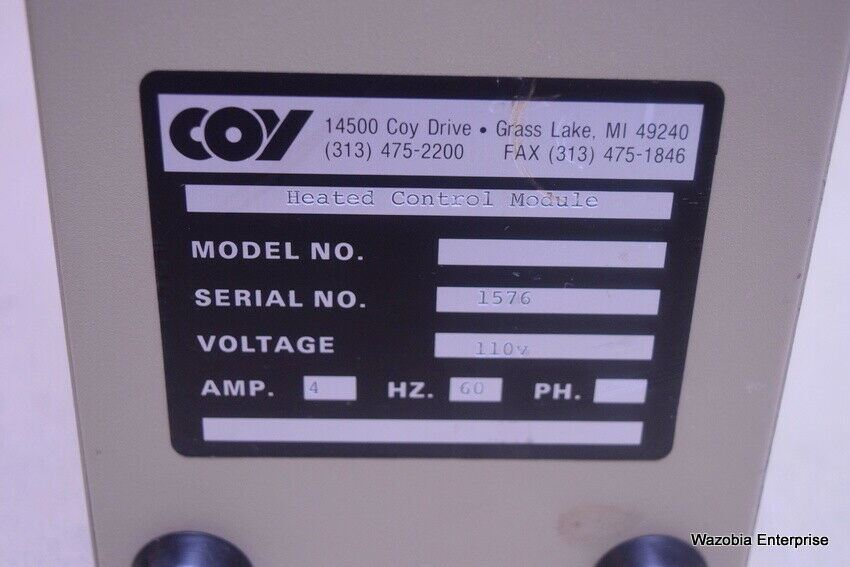 COY LABORATORY PRODUCT  HEATED CONTROL MODULE