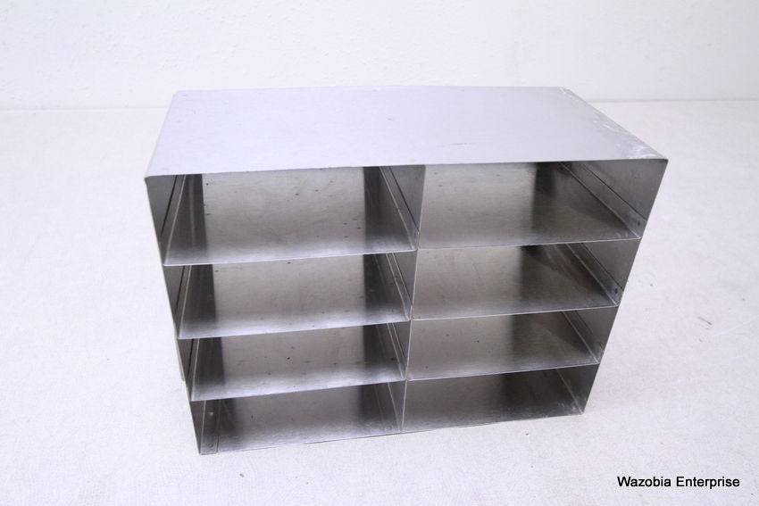 "STAINLESS STEEL LABORATORY CRYO STORAGE FREEZER RACK CRYOGENIC 12.5""X6""X9.25"""