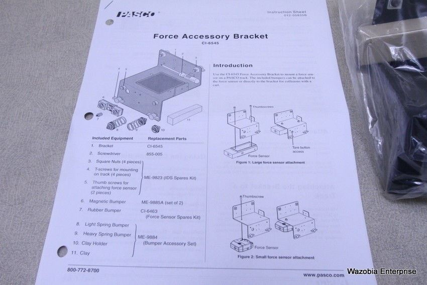 PASCO FORCE ACCESSORY BRACKET FOR PASCO DYNAMICS SYSTEM