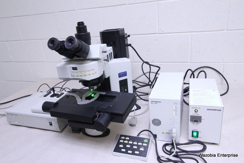 OLYMPUS BX61 FLUORESCENCE MICROSCOPE WITH PRIOR H101AIBX MOTORRIZED STAGE BX61TR
