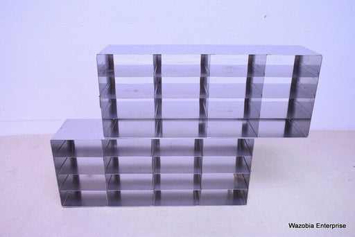 LOT OF 2 STAINLESS STEEL CRYO STORAGE FREEZER RACK CRYOGENIC 22¼ x 5½ x 9