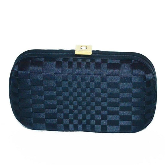 Bottega Veneta Black Silk Woven Knot Clutch - Gem de la Gem
