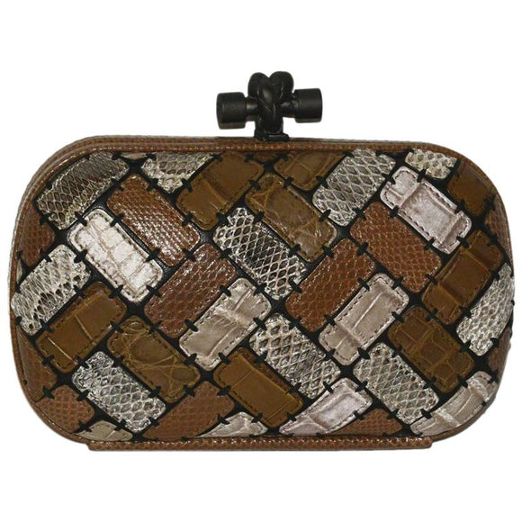 Bottega Veneta Limited Edition Patchwork Multi Exotic Skin Knot Bag - Gem de la Gem