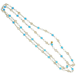 Chanel Blue Crystal and Pearl Sautoir Necklace - Gem de la Gem