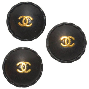 Chanel Set of 3 XL Leather Buttons - Gem de la Gem