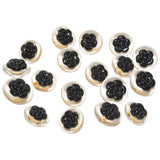 Chanel set of 18 Lucite and Black Camelia Buttons - Gem de la Gem