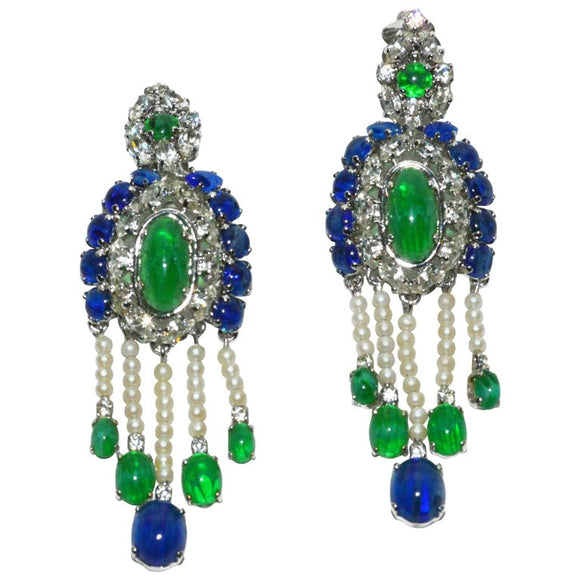 Christian Dior Chandelier Ear Clips, 1960s - Gem de la Gem