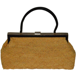 Classic Chanel Natural Straw and Black Lambskin Top Handle Bag - Gem de la Gem