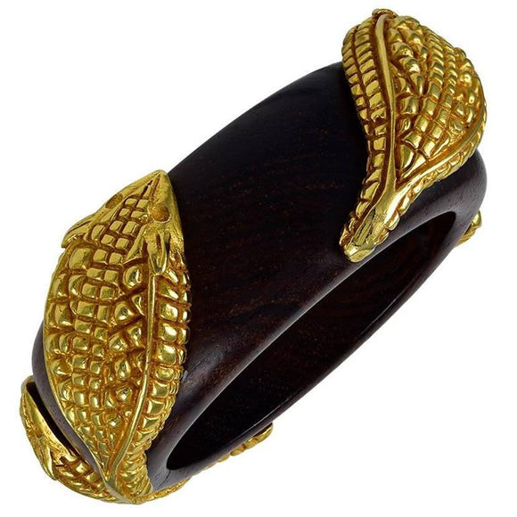 Fabulous Dominique Aurentis Snake Wood Bangle - Gem de la Gem