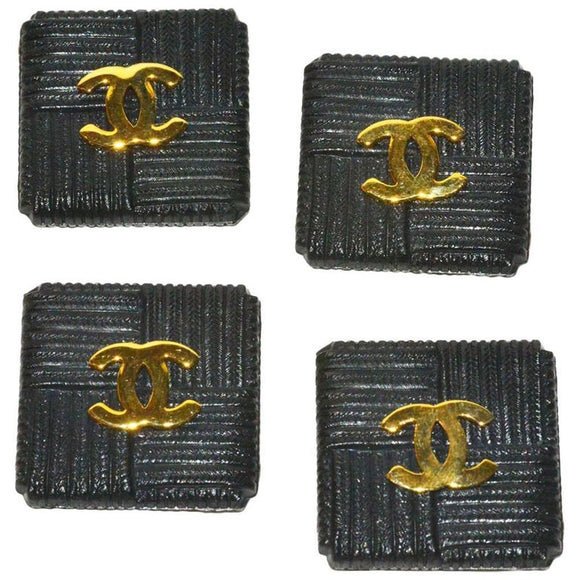 Fabulous Set of (4) Chanel Square Textured Resin and Logo Buttons - Gem de la Gem