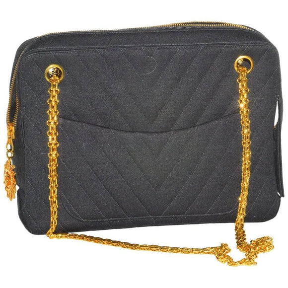 Fabulous Vintage Chanel Chevron Quilted Jersey Bag - Gem de la Gem