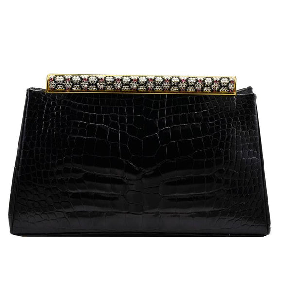 Iconic Judith Leiber Alligator Bag with Jewel Encrusted Frame - Gem de la Gem