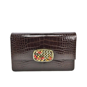 Luscious Darby Scott Structured Alligator and Semi Precious Stone Handbag - Gem de la Gem