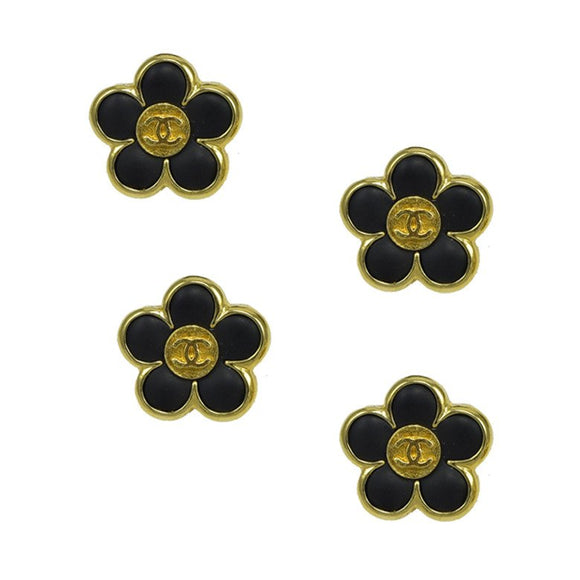 Rare Set of Four Small Chanel Enamel Floral Buttons - Gem de la Gem
