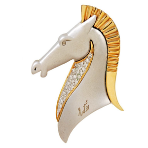 Erte Diamond Gold Le Cheval Horse Head Brooch - Gem de la Gem