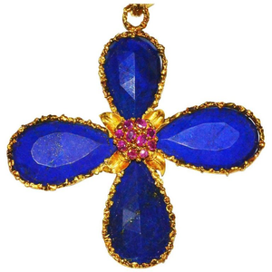 Fabulous, Large 18 Karat, Lapis and Ruby Cross Pendant - Gem de la Gem
