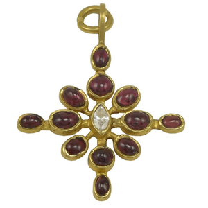 Lovely Virginia Witbeck Ruby Diamond Gold Cross Pendant - Gem de la Gem