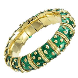 Tiffany & Co. Schlumberger Classic Enamel Gold Bangle Bracelet - Gem de la Gem