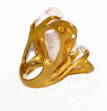 Rare and Important J. Arnold Frew Gold and Carved Coral Ring One of a Kind - Gem de la Gem
