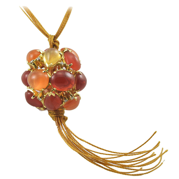 Wonderful Virginia Witbeck Fire Opal Diamond Ball Pendant - Gem de la Gem