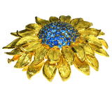 Fabulous Statement Sapphire Sunflower Brooch by Valentin Magro - Gem de la Gem