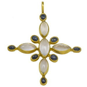Beautiful Virginia Witbeck Chalcedony Sapphire Gold Cross Pendant - Gem de la Gem