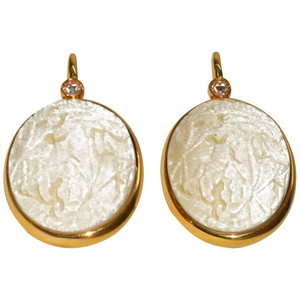Pomellato Carved White Coral Diamond Gold Earrings - Gem de la Gem