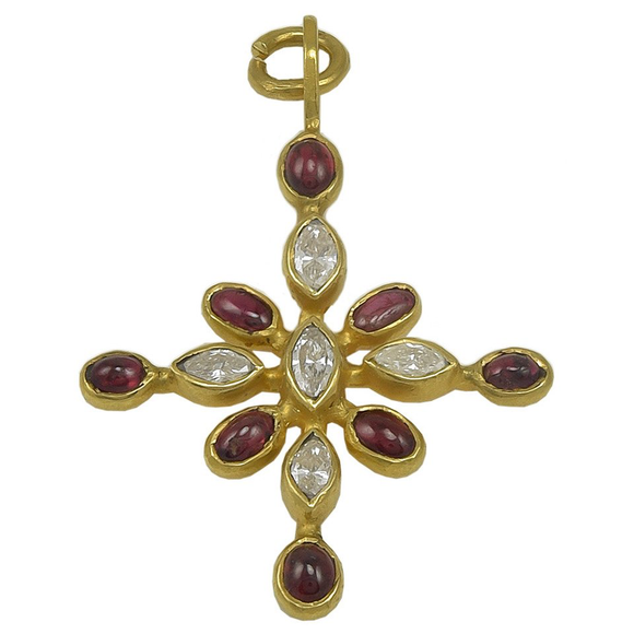 Stunning Virginia Witbeck Ruby Diamond Gold Cross Pendant - Gem de la Gem