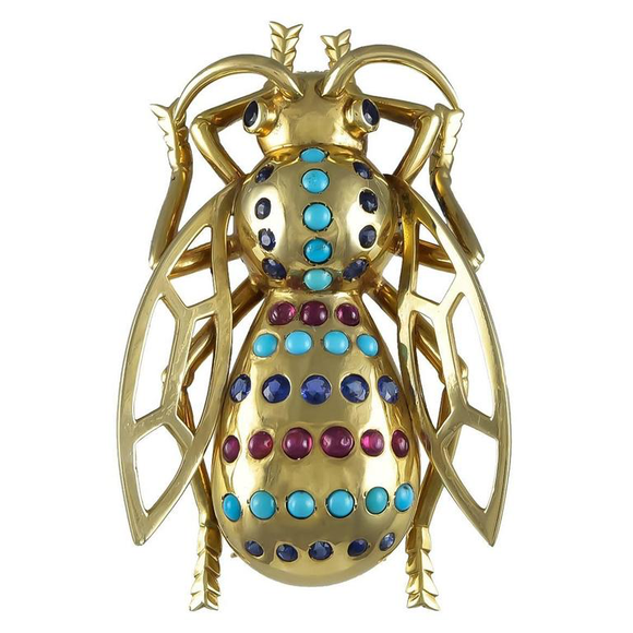 1940s Large Two Dimensional Retro Turquoise Ruby Sapphire Gold Fly Brooch - Gem de la Gem