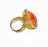 Large Natural Coral Diamond Gold Ring - Gem de la Gem