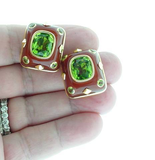 Trianon Contemporary Carnelian Peridot Earrings - Gem de la Gem