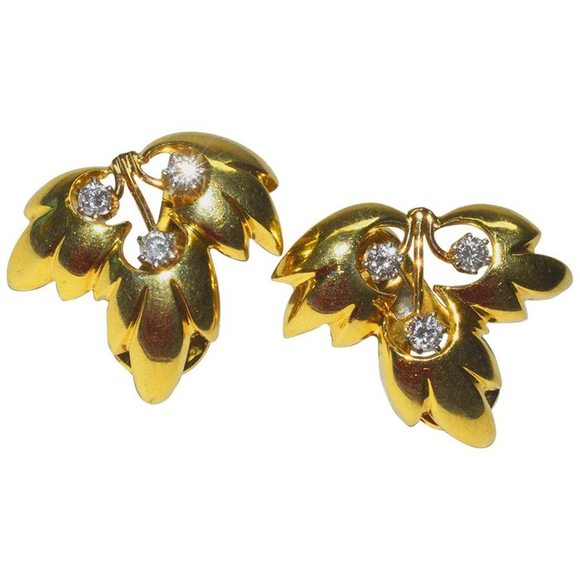Classic Tiffany & Co. Diamond and Gold Leaf Ear Clips - Gem de la Gem