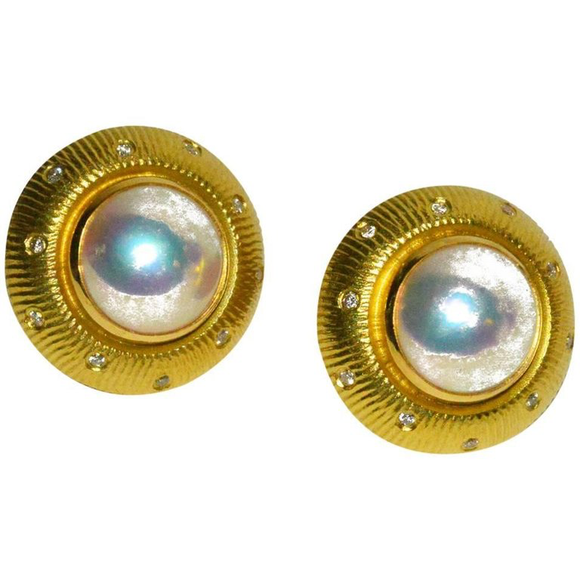 Chic Paul Morelli Gold, Pearl and Diamond Ear Clips - Gem de la Gem