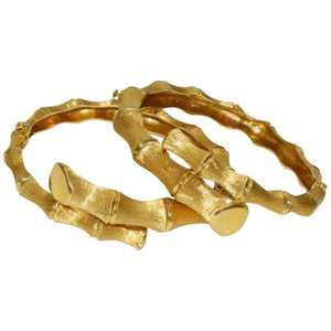 Unusual Pair of 1970s Gold Bamboo Bypass Bracelets - Gem de la Gem