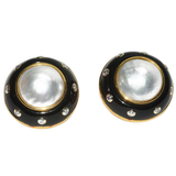 Verdura Gold Pearl Diamond Onyx Ear Clips - Gem de la Gem