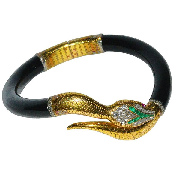 Victorian 15 Karat Handmade Diamond and Emerald Hinged Serpent Bracelet - Gem de la Gem