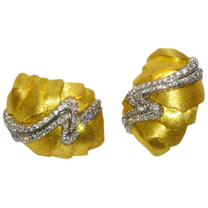 Unusual Henry Dunay Gold and Diamond Sabe Earrings - Gem de la Gem