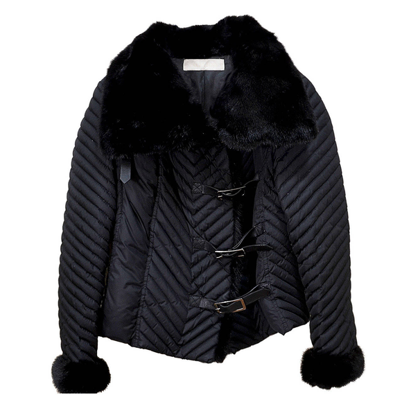 Gorgeous Valentino Microfiber Jacket with Mink Collar and Leather Closures - Gem de la Gem